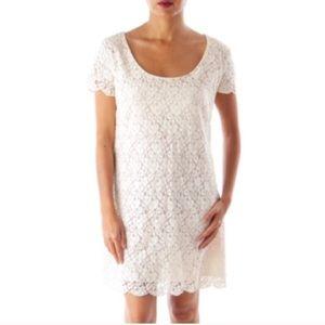 Aritzia Talula Lace Mini Dress Short Sleeve Cream